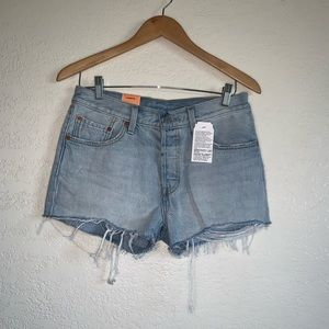 Levi's 501 raw edge jean shorts size 28